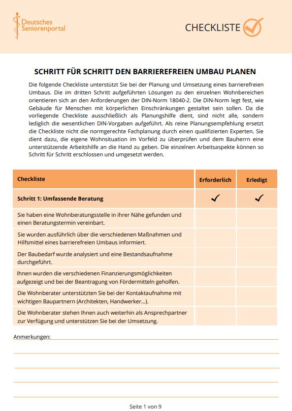 Checkliste: Schritt für Schritt den barrierefreien Umbau planen
